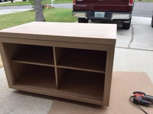 Cabinet framed up without doors