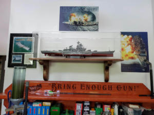 USS Missouri with corbels mounted display case