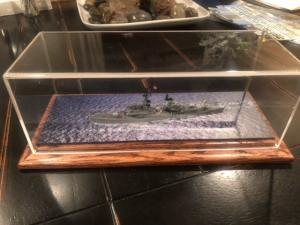 ship in water in display case