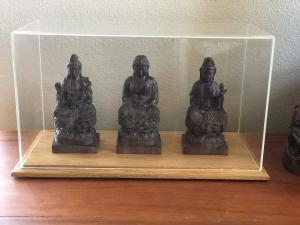 Statues in a display case